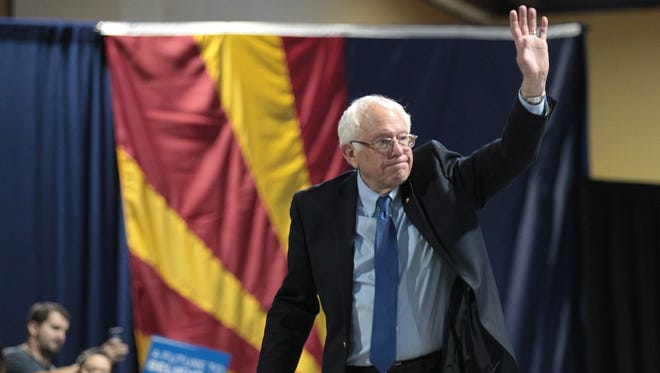 Democratic presidential candidate Bernie Sanders speaks to over 7,000 people during a rally Tuesday, March 3, 2016, at the Phoenix Convention Center.
