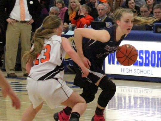 Watkins Glen's Amanda Pike dribbles toward the hoop