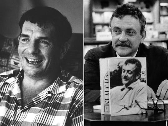 """""""On the Road"""" author Jack Kerouac, left, is pictured in 1967. Kurt Vonnegut is pictured during a """"Slaughterhouse-Five"""" promotional event in Indianapolis."""