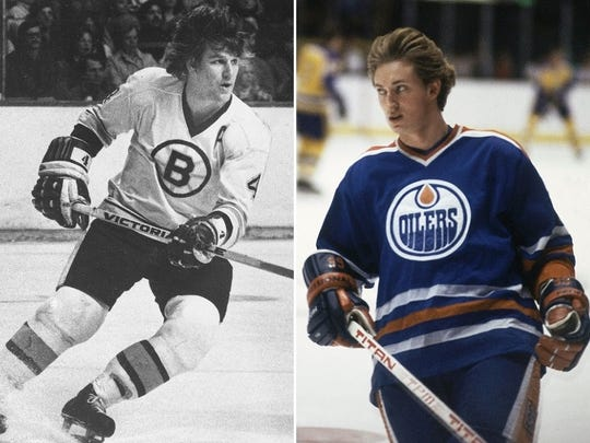 Bobby Orr, left, and Wayne Gretzky are Hockey Hall of Famers.