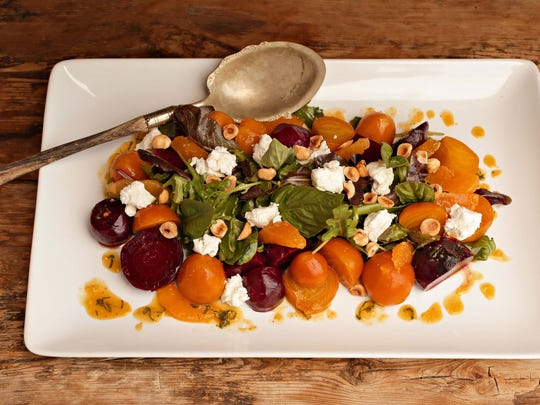 Roasted Beet Salad with Goat Cheese, Hazelnuts and