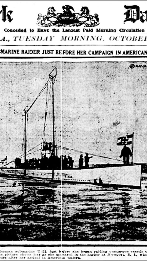 Front Page Photo of German Submarine U-53 in the Harbor at Newport, Rhode Island, on October 7, 1916 (York Daily, York, PA; Issue of Tuesday October 10, 1916)