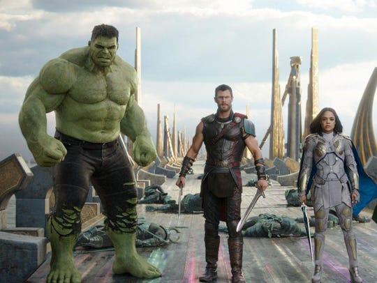 The Hulk, from left, Chris Hemsworth as Thor, and Tessa