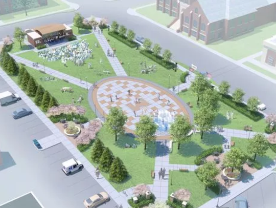 A rendering of the Wenzel Family Plaza, which is being