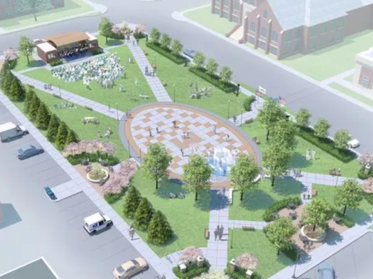 A rendering of the Wenzel Family Plaza, which is being constructed on the former site of the Marshfield News-Herald along West Third Street.
