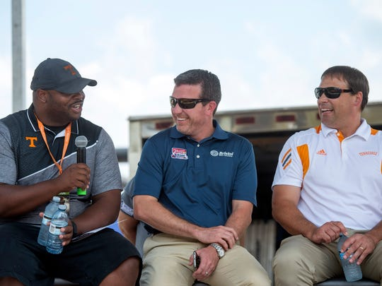 Former Tennessee players Jayson Swain, left, and Heath