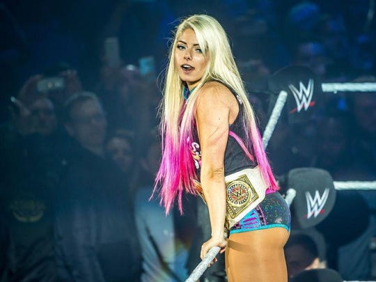 Alexa Bliss mugs for the crowd during the WWE show at Zenith Arena on May 09, 2017 in Lille, France.