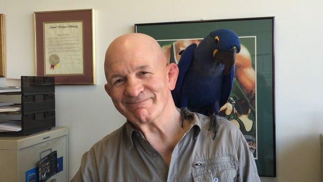 MSU wrestling coach Tom Minkel would take his hyacinth macaw, Indigo, with him to work every day to Minkel's office at IM West.