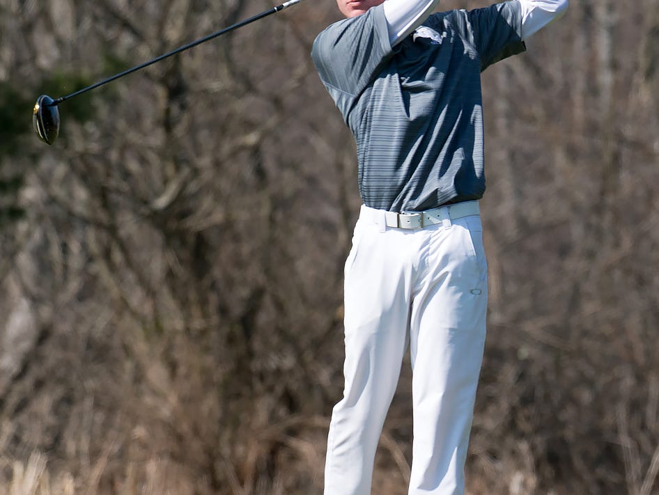 Brad Wheeler of Gull Lake tees off on the 13th hole during the Lakeview Jamboree at Cedar Creek golf course Thursday afternoon.