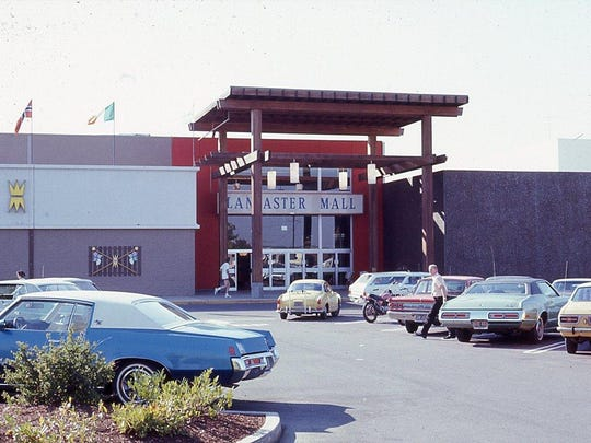 The east entrance of Lancaster Mall is seen in 1972.