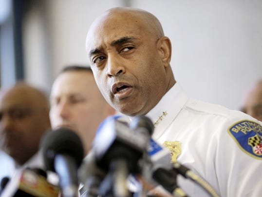Baltimore Police Department Commissioner Anthony Batts speaks about the investigation into Freddie Gray's death at a news conference, Friday, April 24, 2015, in Baltimore. Gray died from spinal injuries about a week after he was arrested and transported in a police van. (AP Photo/Patrick Semansky)