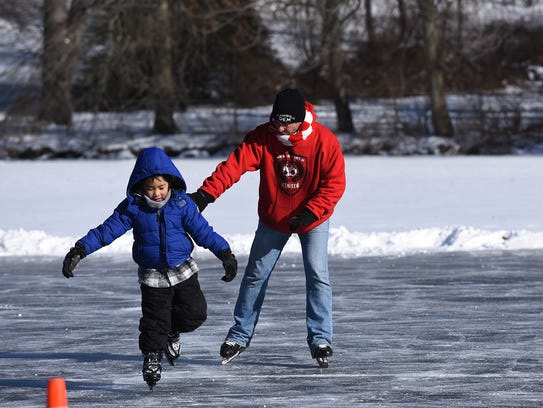 Ice skating at Cooper's Pond in Bergenfield on Saturday