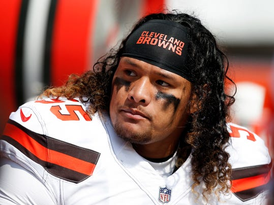 FILE - In this Sept. 10, 2017 file photo, Cleveland Browns nose tackle Danny Shelton (55) sits on the sideline during the first half of an NFL football game against the Pittsburgh Steelers in Cleveland. A person familiar with the negotiations said Saturday, March 10, 2018, that the Browns have agreed to trade Shelton to the New England Patriots for a conditional draft pick. The person spoke to The Associated Press on condition of anonymity because NFL rules prohibit teams from announcing deals until next week when free agency begins.  (AP Photo/Ron Schwane, File)