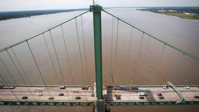 Vehicles pass along the Delaware Memorial Bridge in 2015. A man who jumped off the span Sunday has not been found.