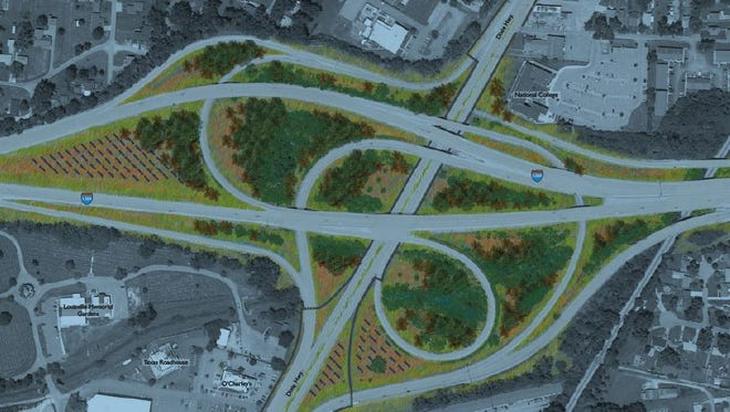 Small black marks indicate potential location for solar panels in the I-264/Dixie Highway interchange.