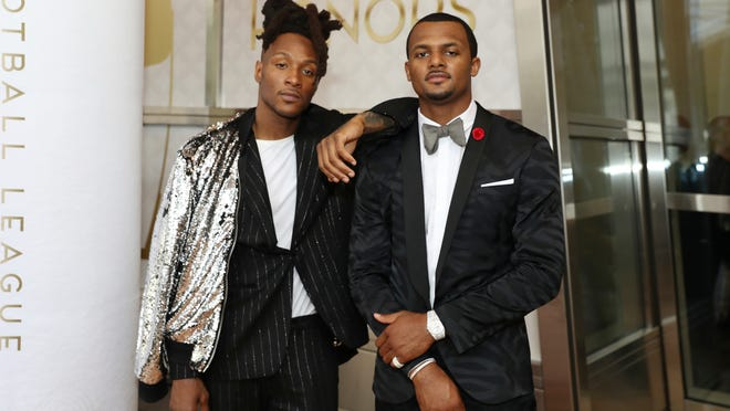 DeAndre Hopkins, left, and Deshaun Watson, both of the Houston Texans, attend the 9th Annual NFL Honors at the Adrienne Arsht Center on Saturday, Feb. 1, 2020, in Miami. (Jeff Lewis/AP Images for NFL)
