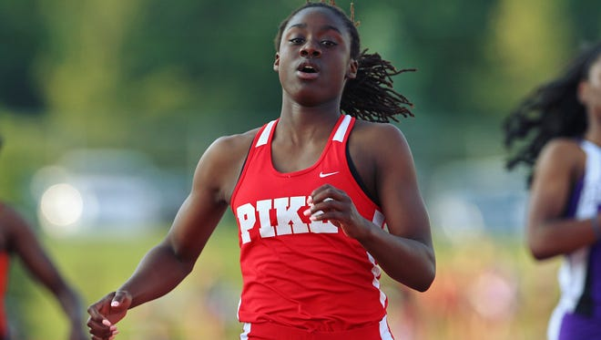 Pike junior Lynna Irby broke the regional record in the 100 meters Tuesday at the the Ben Davis Regional. She also won the 200, 400 and anchored the 1,600 relay.