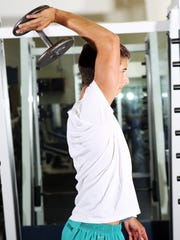 2- way tricep extensions: Hold a dumbbell in one hand, and extend your arm straight overhead. Keeping your elbow pointed out, bend elbow and slowly lower your hand behind your head. Straighten your arm by extending hand back up. Slowly lower your hand back down in front of your face with elbow still pointing out. That is one repetition. Repeat for the 10 repetitions before switching to the other side.