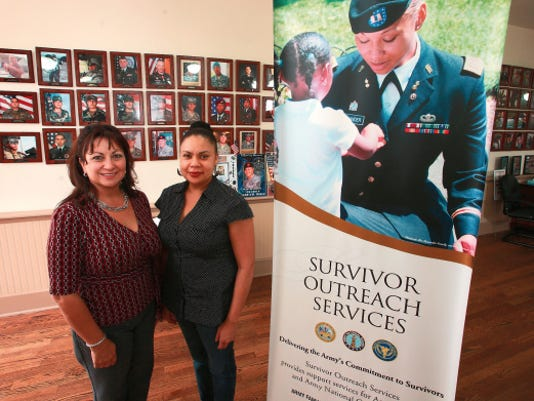 Victor Calzada - El Paso Times   Helen Barrientes, left, and Ruth Nero are the staff for the Survivor Outreach Services program at Fort Bliss.