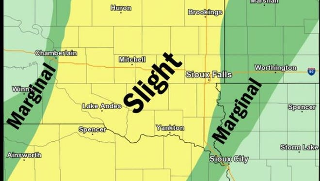 Area in South Dakota under a slight risk for severe weather tonight.
