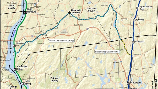 A map of the Beacon Line, where Metro-North is looking for ideas for non-passenger rail service.
