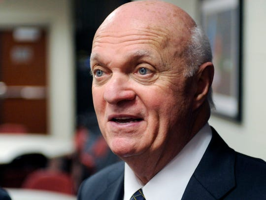 FILE - In this April 14, 2014, file photo, then-New Jersey Devils general manager Lou Lamoriello talks to the media in Newark, N.J. The Toronto Maple Leafs have hired longtime NHL executive Lou Lamoriello as general manager. Maple Leafs President Brendan Shanahan said Thursday, July 23, 2015, he wanted NHL experience, and he got almost three decades of it in Lamoriello. (AP Photo/Bill Kostroun, File)