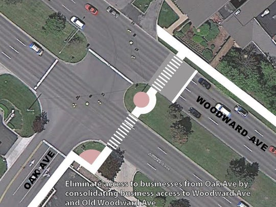 A rendering shows the new crosswalk planned at Oak