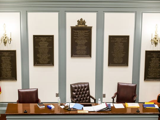 The chair of the Delaware Senate president sits empty.