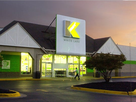 Kmart Corp. tested a revamped logo, shown at the company's White Lake Township  store, Tuesday, Oct. 15, 2002.