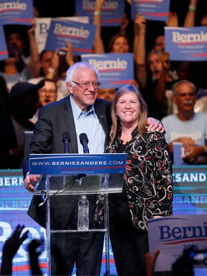 Democratic presidential candidate Sen. Bernie Sanders, of Vermont, comes on stage with his wife Dr. Jane Sanders, to speak during a fundraiser at the Avalon Hollywood, Wednesday, Oct. 14, 2015, in Hollywood, Calif.