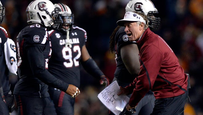 USC head football coach Steve Spurrier gets after his defense against Tennessee at Williams-Brice Stadium in Columbia on Saturday, November 1, 2014.