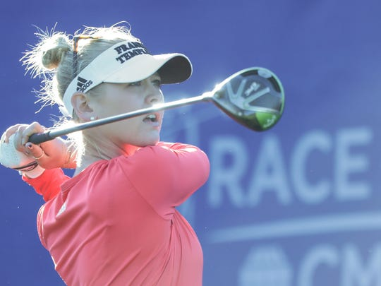 American Jessica Korda tees off on 1 at the first round