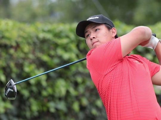 Palm Desert's Derek Liu tees off on 17 during 2018