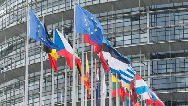 European countries' flags and the flag of Europe fly in front of the European Parliament, in Strasbourg, France, on May 10.