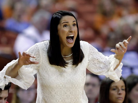 Nebraska head coach Amy Williams calls to her players during a first-round game in the NCAA women's college basketball tournament against Arizona State, Saturday, March 17, 2018, in Austin, Texas. (AP Photo/Eric Gay)