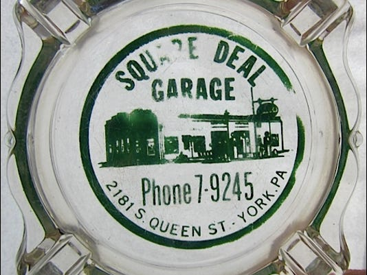 Ashtray advertising Square Deal Garage, 2181 S. Queen St., York, PA, Phone 7-9245 (S. H. Smith Photo of Ashtray in S. H. Smith Collections)