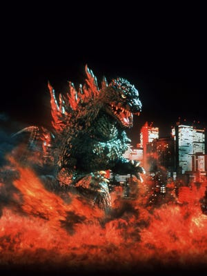 "The classic movie monster brings the destruction in ""Godzilla 2000.""."