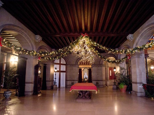 The 250 room Biltmore House once again is decorated