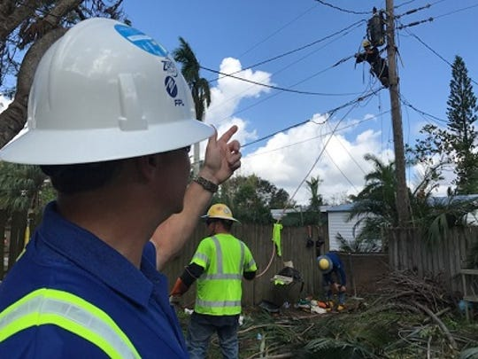 Eric Silagy, CEO and president of Florida Power & Light, made a visit to utility repair crews in Fort Myers on Tuesday and vowed to have the 2 percent of customers currently without electricity due to Hurricane Irma back on by Friday.