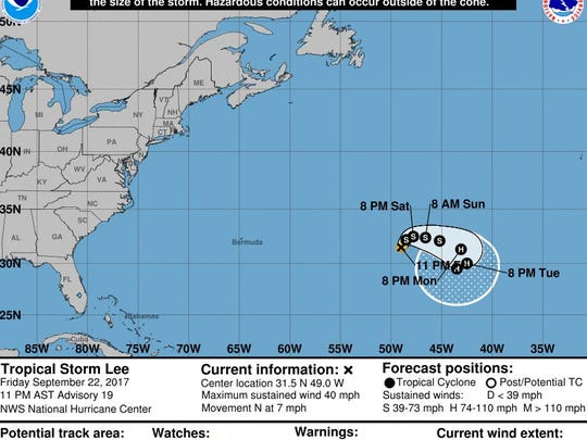 Tropical Storm Lee as of 11 p.m. Friday.