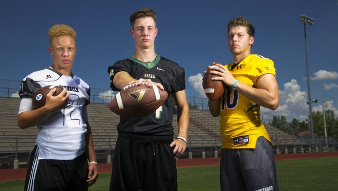 Pinnacle High quarterback Spencer Rattler, (from left) Basha High quarterback Ryan Kelley and Sunrise Mountain quarterback Chase Cord are three of the top quarterbacks in the state.