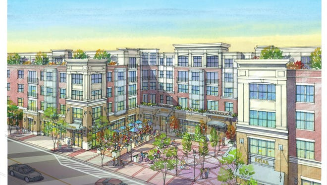 An initial rendering of plans for redevelopment of downtown Park Ridge.