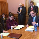 """Kurt Altman, at right , a lawyer representing the Goldwater Institute, speaks to an Iowa Senate subcommittee Tuesday, Feb. 9, 2016,  about the so-called """"Right to Try"""" drug bill for terminally ill patients."""
