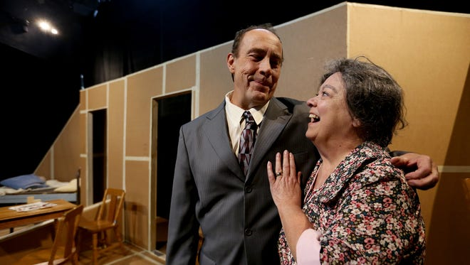 """Craig Kalepp, as Ludi, and Joyce Kemp, as Carrie Watts, rehearse for """"The Trip to Bountiful,"""" which runs Nov. 13-Dec. 5 at Pentacle Theatre."""