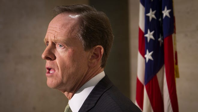 In this file photo, Pennsylvania's Republican Sen. Pat Toomey speaks during a press conference on the shooting of Philadelphia police officer in Philadelphia, Thursday, Jan. 14, 2016. (Alajandro A. Alvarez/The Philadelphia Inquirer via AP)