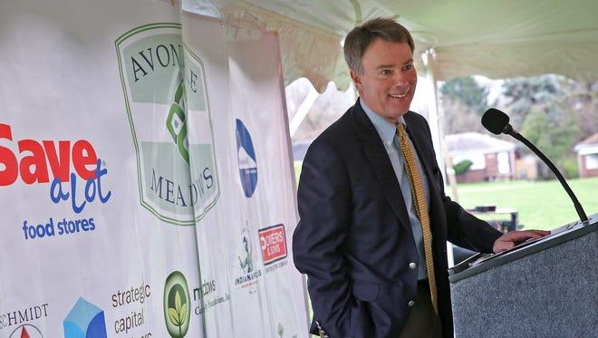 Mayor Joe Hogsett speaks during the retail groundbreaking ceremony for the Avondale Meadows neighborhood, Thursday, April 7, 2016.