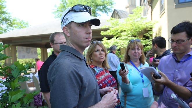 "Detroit Lions General Manager Bob Quinn speaks to the press during the ""Have a Heart Save a Life"" celebrity golf outing organized by the Charlie Sanders Foundation at Knollwood Country Club in West Bloomfield, Mich. on Monday, June 6, 2016."