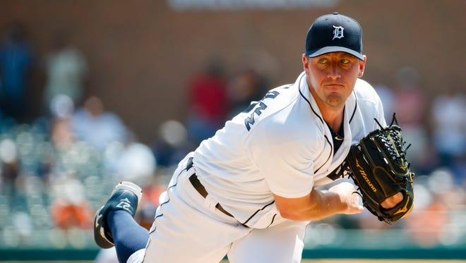 Detroit Tigers starting pitcher Jordan Zimmermann works in the first inning against the Chicago White Sox on Aug. 4, 2016, at Comerica Park.