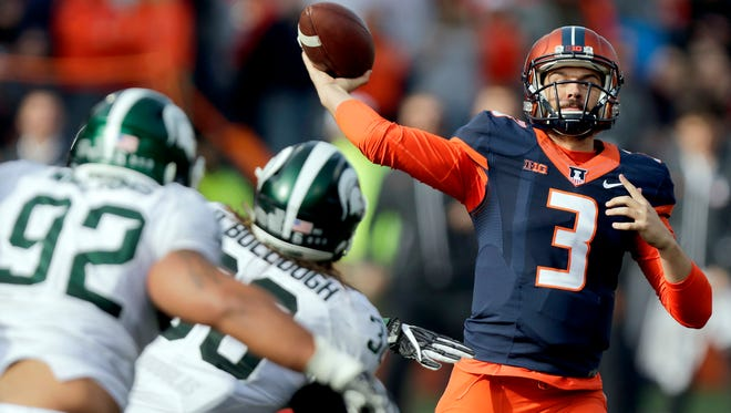 Illinois redshirt freshman quarterback Jeff George Jr., the son of former NFL quarterback Jeff George, has been thrust into a starting role after injuries to Illinois starter Wes Lunt and backup Chayce Crouch.