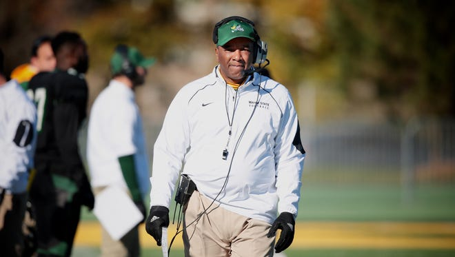 Wayne State coach Paul Winters watches his team during GVSU's 24-21 win over Wayne State Saturday in Detroit.